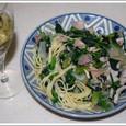 特製スパゲッティーと白ワイン