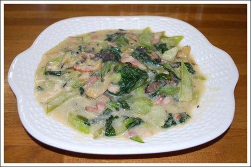 チンゲン菜の豆乳煮