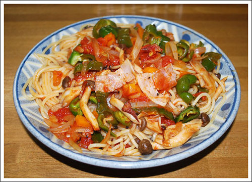 野菜ときのこのトマトスパゲッティー
