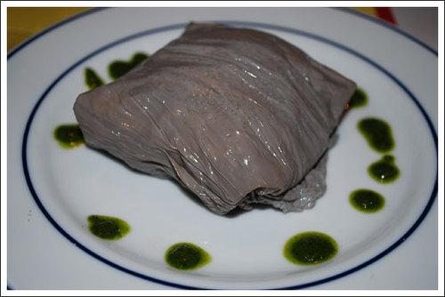 野菜とズワイガニの和え物 今日と黒豆の湯葉包み