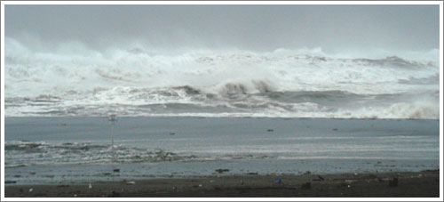 台風9号のうねりと高波