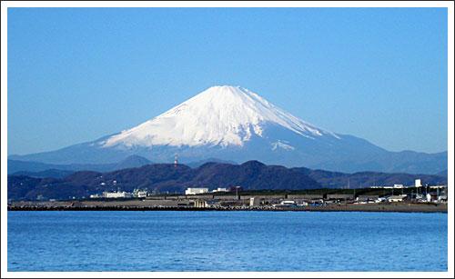 ヘッドランドから見た富士山