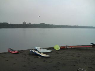 ウインドサーフィンスクール、休憩中です。