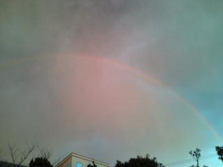 雨が降る前に出た大きな虹