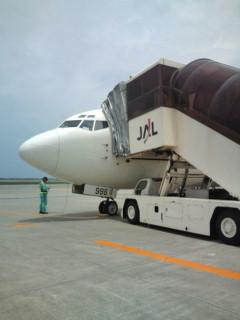 石垣空港へと向かう飛行機。
