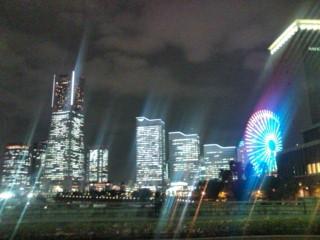 横浜みなとみらい地区の夜景。